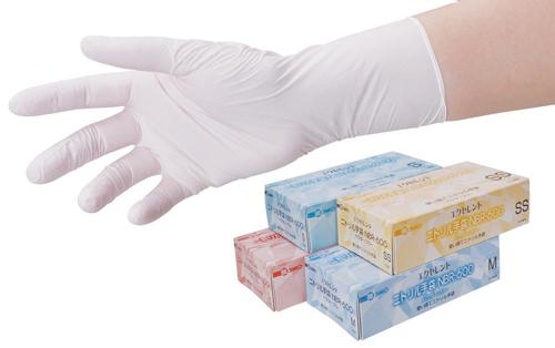 104-98301 エクセレントニトリル手袋 SS ホワイト PF NBR-600(100枚) 三興化学工業